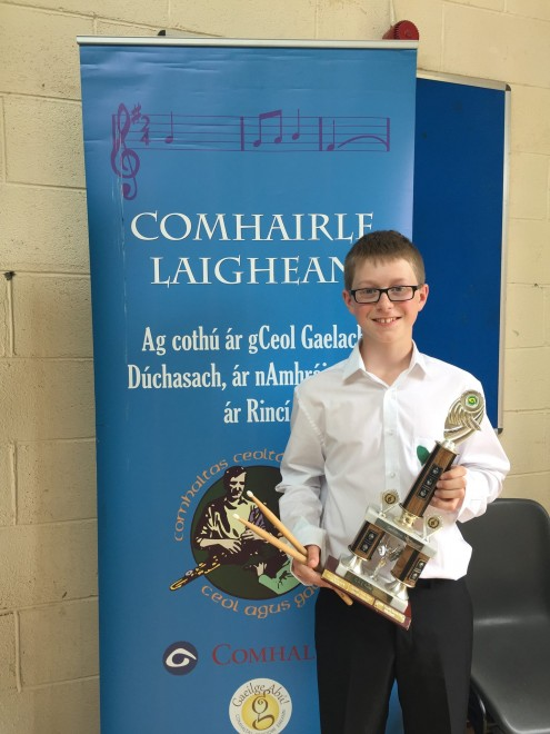Conor Rice with U15 Ceili band trophy