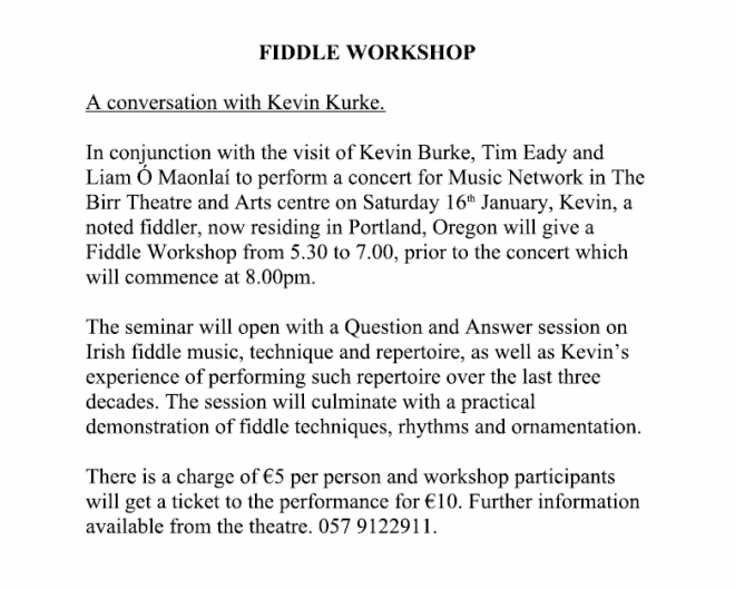 Kevin Burk event Birr Jan16